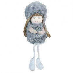 Lógó lábú kislány csillaggal, szürke, 6x17 cm