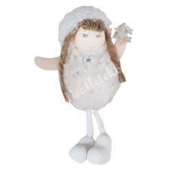 Akasztós, lógó lábú kislány, hópehellyel, fehér, 7x15 cm