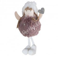 Akasztós, lógó lábú kislány, szívvel, mályva, 7x15 cm