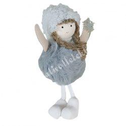 Akasztós, lógó lábú kislány, hópehellyel, szürke, 7x15 cm