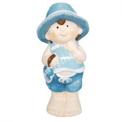 Kerámia gyerek, hallal a kezében, kék, 7,5x14,5 cm