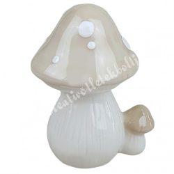 Kerámia gomba, krém, 9x11 cm
