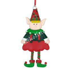 Akasztós dísz, karácsonyi manó, 7,5x15 cm