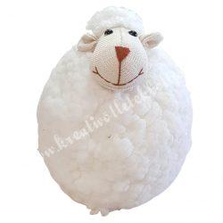 Textil fehér bárány, gyapjas, 14x17x19 cm