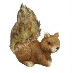 Kerámia mókus, barna, fekvő, 17x18 cm
