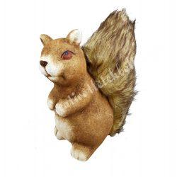 Kerámia mókus, barna, ülő, 8x18 cm