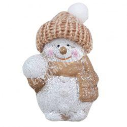 Kerámia hóember, pamut sapkában, 5,5x8 cm