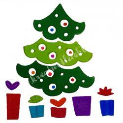 Ablakzselé, karácsonyfa ajándékokkal