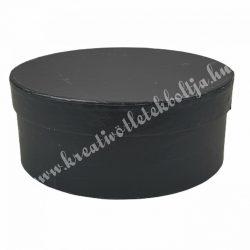Kerek kalapdoboz, fekete, nagy, 20 cm