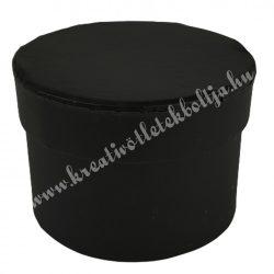 Papírdoboz, kör, fekete, 9x6 cm