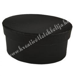 Papírdoboz, ovál, fekete, 13x9x6 cm