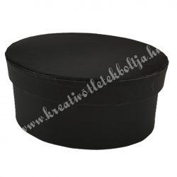 Papírdoboz, ovál, fekete, 13x6 cm
