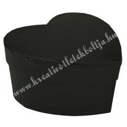 Papírdoboz, szív, fekete, 11,5x11x6 cm