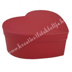 Papírdoboz, szív, piros, 22x20x8,5 cm
