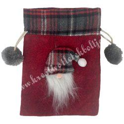 Textil szütyő manófejjel, piros, 14x20,5 cm