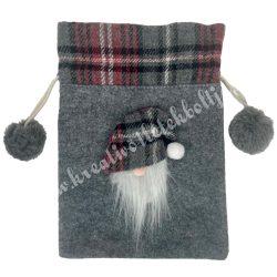 Textil szütyő manófejjel, szürke, 14x20,5 cm