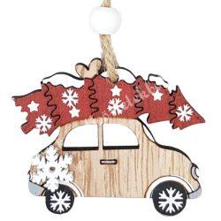 Akasztós dísz, natúr fa autó fenyőfával, 6x5 cm