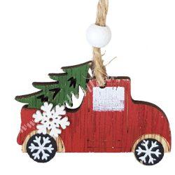 Akasztós dísz, piros autó fenyőfával, 6,2x4,2 cm