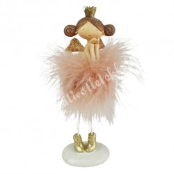 Polyresin tollas angyal, rózsaszín, 7x12,5 cm