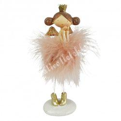 Polyresin tollas angyal, rózsaszín, 8x17 cm