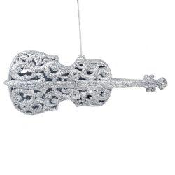 Akasztós dísz, hegedű, csillámos, ezüst, 17,5x7 cm