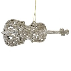 Akasztós dísz, hegedű, csillámos, pezsgő, 17,5x7 cm