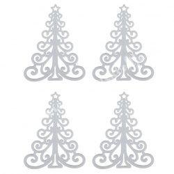 Akasztós dísz, lapos cirádás fenyő, csillámos, fehér, 10,5x13,5 cm