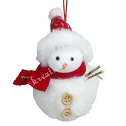 Szőrmés hóember gombos, piros sállal, sapkában, 9x11 cm
