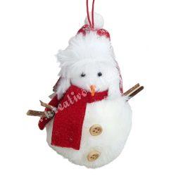 Szőrmés hóember gombos, piros füles sapkában, 9x11 cm