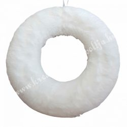 Szőrmés félkoszorú alap, fehér, 20 cm