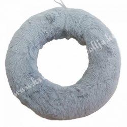 Szőrmés félkoszorú alap, szürke, 20 cm