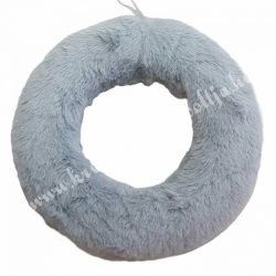 Szőrmés félkoszorú alap, szürke, 25 cm