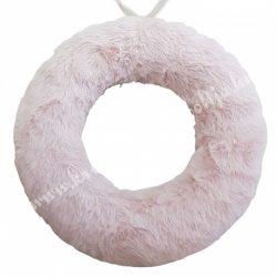 Szőrmés félkoszorú alap, púder rózsaszín, 25 cm