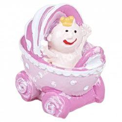 Polyresin babakocsi babával, lány, rózsaszín, 2,5x2,5 cm