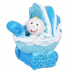 Polyresin babakocsi babával, fiú, kék, 2,5x2,5 cm