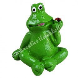 Polyresin ülő béka, zöld, 3x3,5 cm