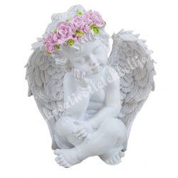 Fehér angyalka, rózsaszín virágkoszorúval, ülő, 11x12 cm