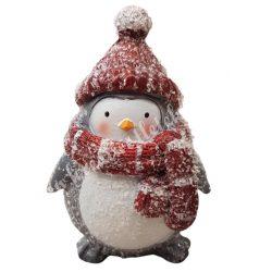 Havas pingvin, piros sapkában, 7x9,5 cm