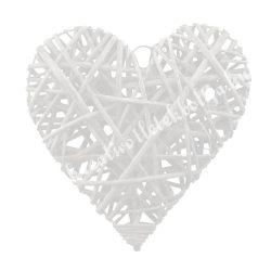 Vessző szív, fehér, 15 cm