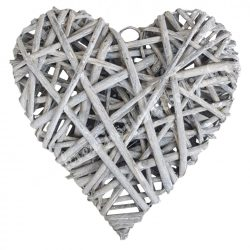 Vessző szív, szürke, 20 cm
