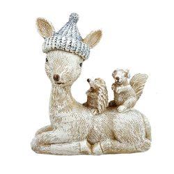Őzike hátán süni, mókus, 11,5x12,5 cm