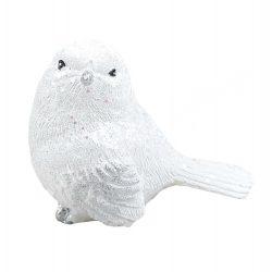 Glitteres fehér madár 3., 6x5 cm