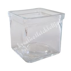 Üveg mécsestartó, kocka, peremes, 10x10 cm