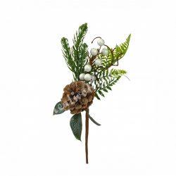 Beszúrós fenyőág, fehér bogyókkal és tobozzal, 26 cm