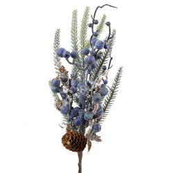 Fenyő pick, lila bogyókkal, tobozzal, 43 cm