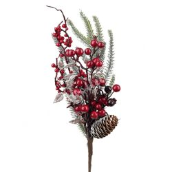 Fenyő pick, piros bogyókkal, tobozzal, 43 cm