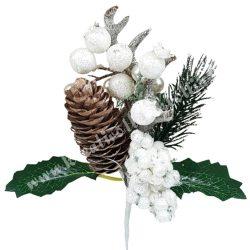 Betűzős dísz, fehér, bogyókkal, tobozzal, aganccsal, 12x20 cm