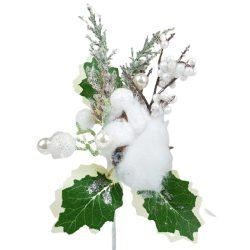Betűzős dísz, fehér bogyókkal, fehér gyapotvirággall, 13x19 cm