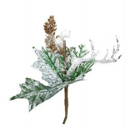 Betűzős, havas karácsonyi pick, tobozzal és aganccsal, 20 cm