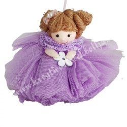 Akasztós tüll ruhás kislány, lila, 13x12 cm